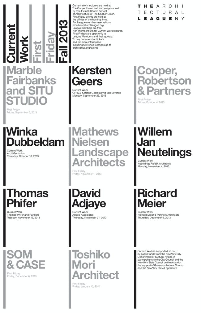 2013 fall 'Current Work' lecture series, The Architectural League of New York