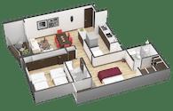 Sales-room interior plan renders.