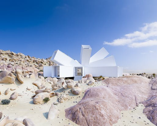 """Less than 1 mile from the entrance to Joshua Tree National Park lies 22.5 acres of unparalleled natural beauty positioned at the finest point in Monument Manor."" Description courtesy of engel & völkers. Image © Whitaker Studio"