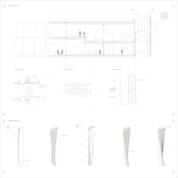 Typical floor section, detail drawings & formal studies
