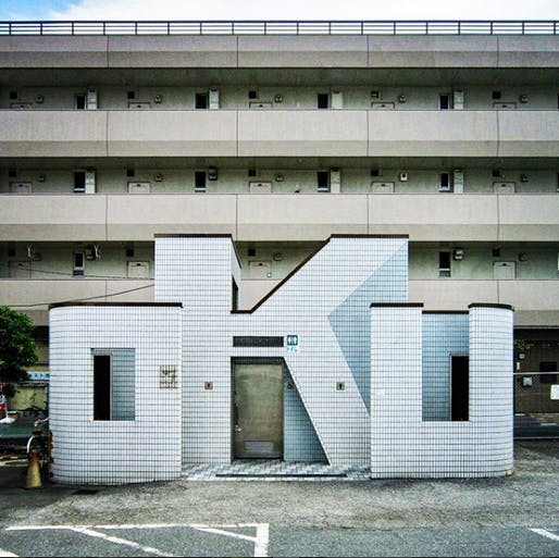 The O.K.U.-shaped public restroom at Tokyo's Oku Station. Photo via toilets_a_go_go/Instagram.