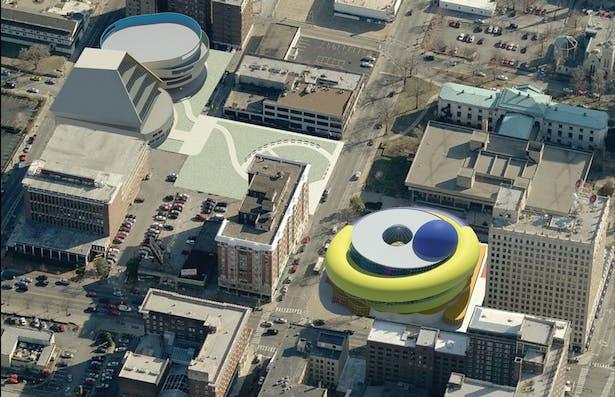 Louisville Children's Museum proposal aerial perspective.