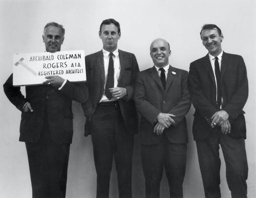 George Kostritsky on the far right, standing with RTKL partners Archibald Rogers, Francis Taliaferro, and Charles Lamb. Image courtesy of CallisonRTKL.