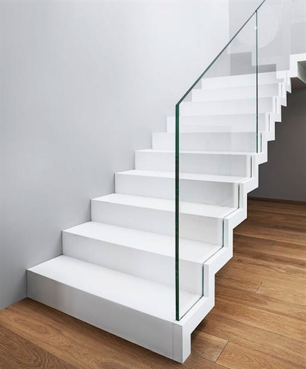 Zig Zag Stair In Corian Siller Stairs Archinect