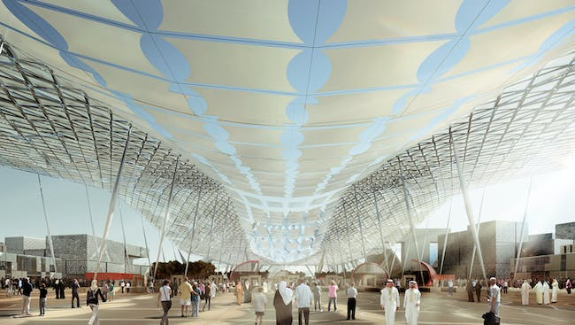 Main entrance from the metro station with the iconic photovoltaic fabric structure above. Image: HOK