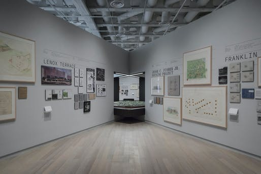 """Living in America: Frank Lloyd Wright, Harlem & Modern Housing"" exhibition opening. Photo courtesy of Columbia GSAPP."