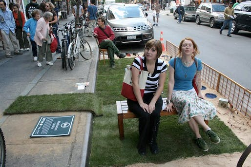 A meditation garden in Williamsburg on Park(ing) Day 2008. (John Del Signore/Gothamist)