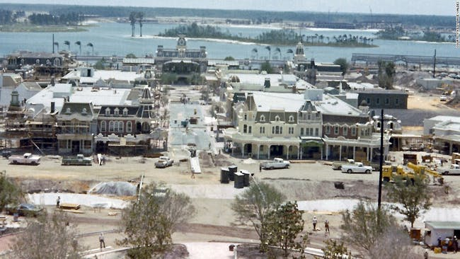 Newly revealed amateur photos from the early 1970s document the construction of Walt Disney's Magic Kingdom in Orlando, Florida. (Image via cnn.com, courtesy of Kelly Wise Valdes.)