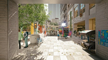 Rendering of the inside of a typical Manhattan block after new zoning regulation is enacted. Image courtesy of ODA