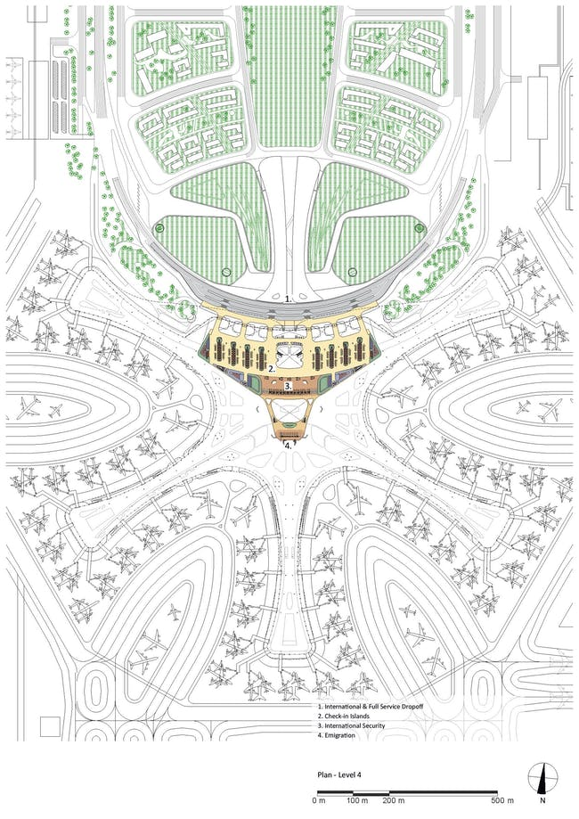 Plan - Level 4. Courtesy of Zaha Hadid Architects.