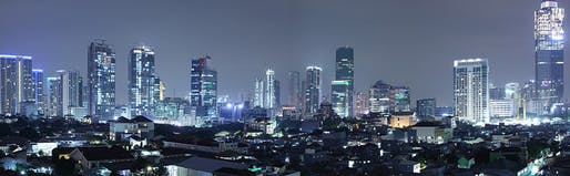 The Jakarta skyline at night, as seen from Kuningan District, South Jakarta. Photo: Robin Widjaja/Wikipedia.