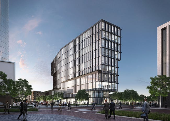 The 10-story office tower in Deborah Berke Partners' plan for the new Cummins Inc. distribution business headquarters in the heart of downtown Indianapolis. Image courtesy of Cummins Inc.