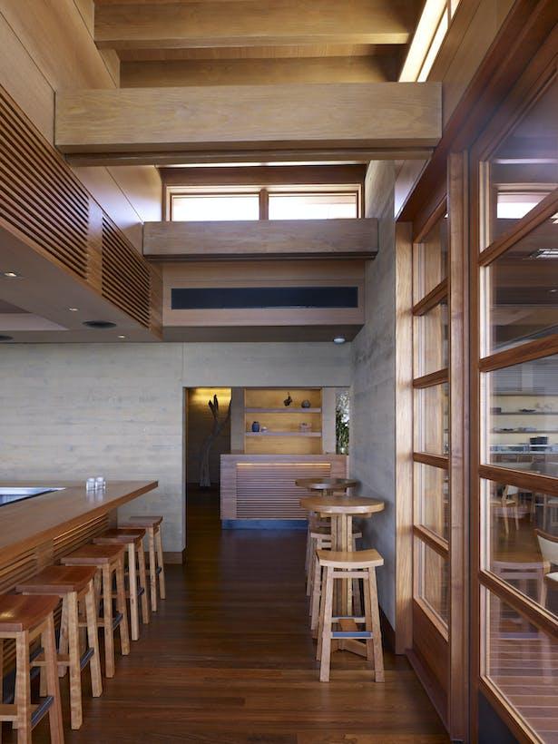 Interior teak details are inspired by Japanese shoji screens