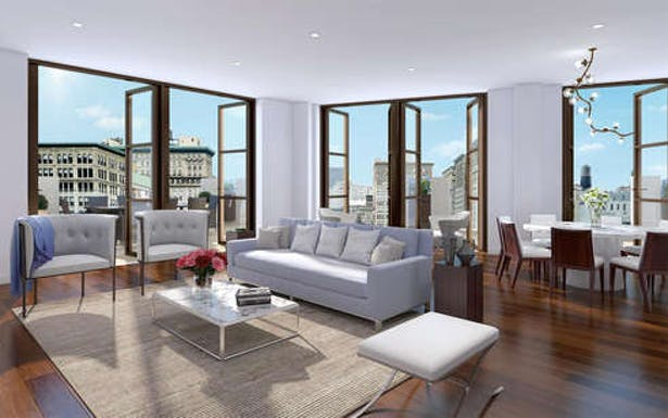 18th floor living room with wraparound terrace