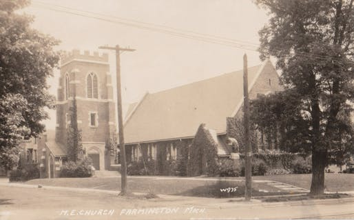 View of the Methodist Church designed by Butterfield and Butterfield in 1922. Photo courtesy of the Farmington Community Library.