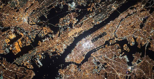 Cosmonaut Oleg Kononenko's 2013 aerial photo of New York City shows the growing reach of the new, white LED streetlights. Image: Wikimedia Commons, via urbanomnibus.net.