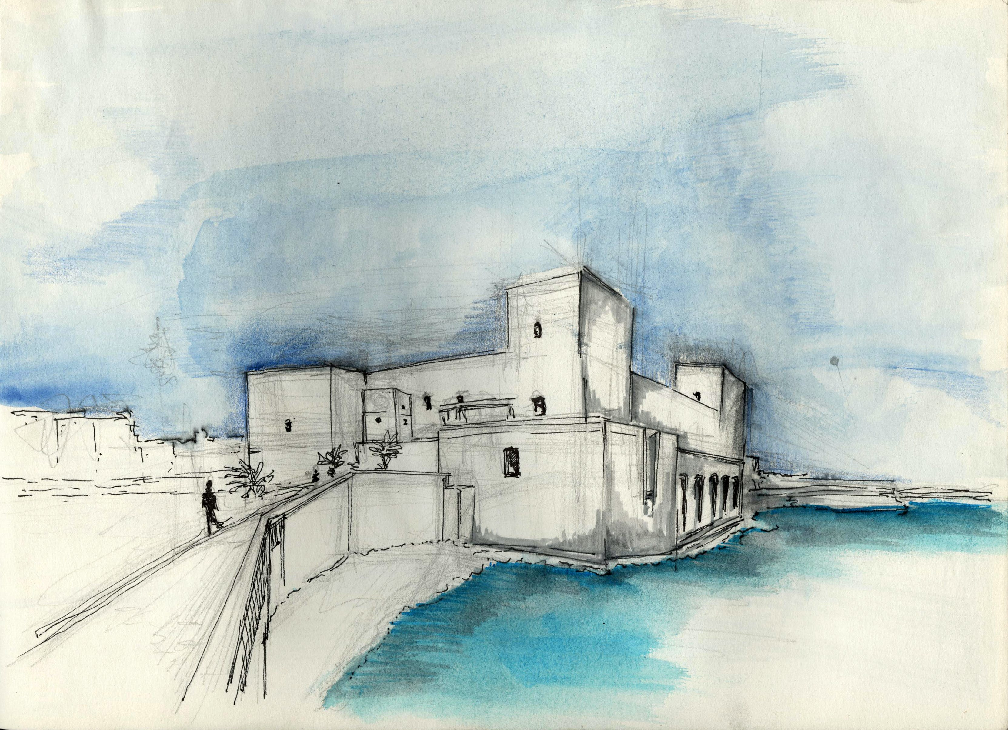 trani fort trani italy water colour ink - Free Sketches To Paint
