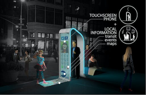 "Winner of the Creativity Award at the Reinvent Payphones Design Challenge: FXFOWLE's concept ""NYC Loop"" (Image: FXFOWLE)"