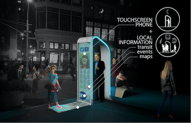 Winner of the Creativity Award at the Reinvent Payphones Design Challenge: FXFOWLE's concept 'NYC Loop' (Image: FXFOWLE)