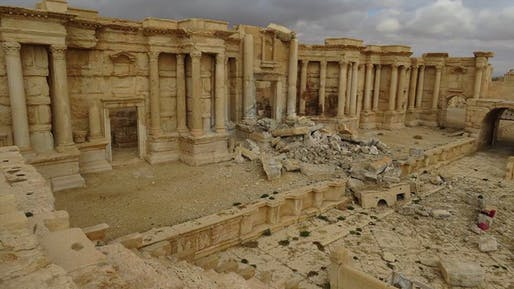 The badly damaged Roman Theater in Palmyra, Syria on March 2, 2017 after the historic site was recaptured from ISIS militants. Photo via the Syrian Directorate-General of Antiquities & Museums.