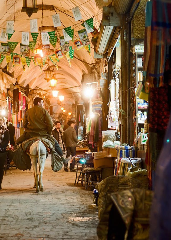 Souk of Aleppo, Syria. The long and narrow passages of the Souk were covered by tall vaults. Photo: Adli Qudsi