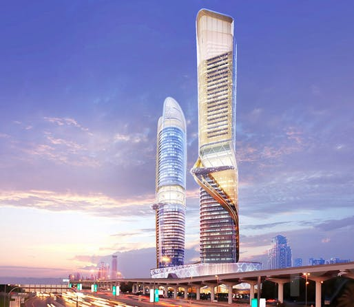 Rendering of the proposed rainforest/beach towers on Dubai's Sheikh Zayed Road. (Image via zasa.com)