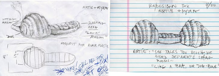 Design concepts for Artie's paraSITE. Images: Michael Rakowitz