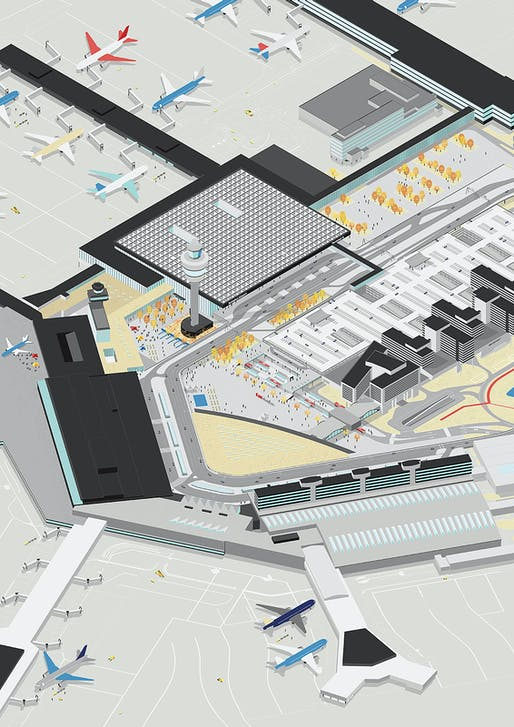 Amsterdam Airport Schiphol Terminal, site axo © KAAN Architecten