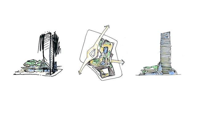 Sketch - Zhongxun Times by 10 Design in Chongqing. Image courtesy of 10 Design