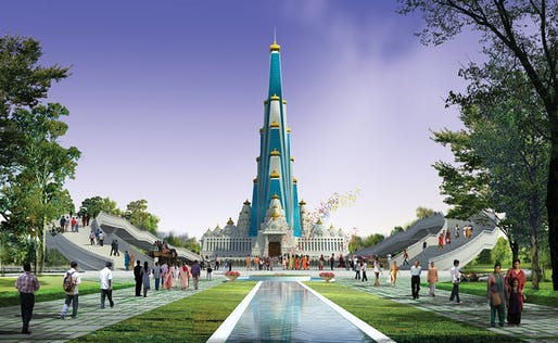 Vrindavan Chandrodaya temple rendering, front view. (Image: VCM/Wikipedia)