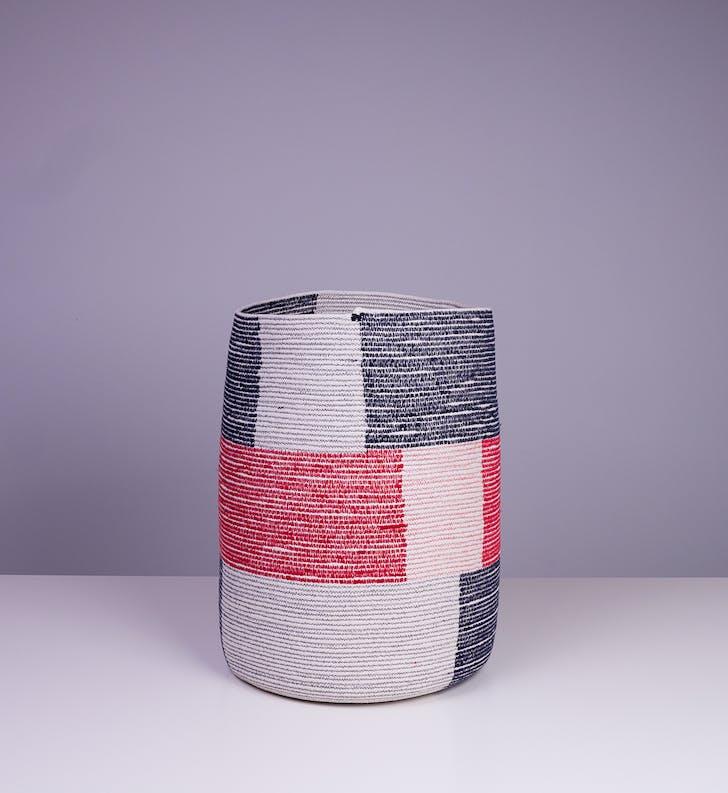 'Density Baskets: Big Blocks', 2013. stitched cotton rope.