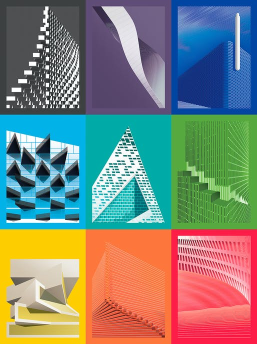 """Syntax in Architecture"" graphic posters by Giuseppe Gallo. Image: Giuseppe Gallo."