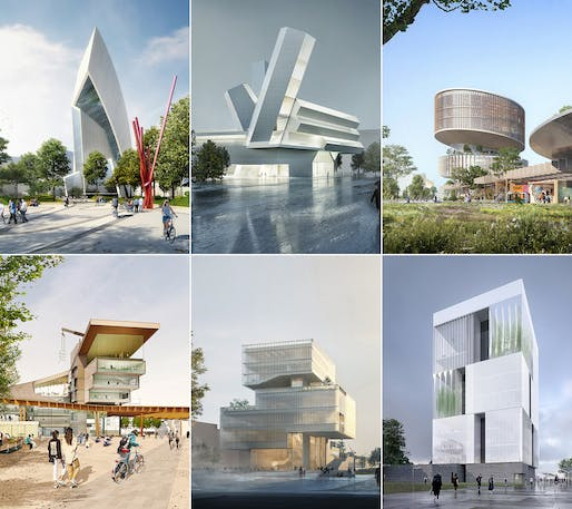 Shortlisted designs in the Future Campus UCD competition. © Malcolm Reading Consultants and individual teams