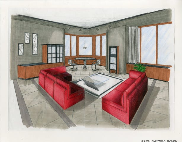 Modern interior done in marker and colored pencil.