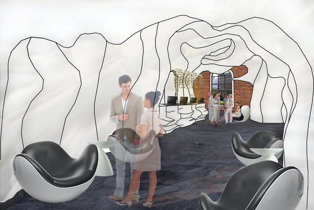 Rendering from other direction of museum lobby
