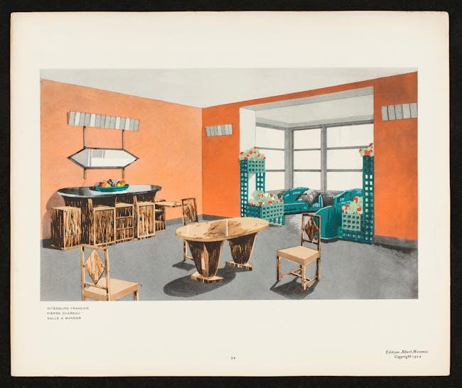 Pierre Chareau, Sketch for a dining room, 1924. From Jean Badovici, Intérieurs Français. Paris: Éditions Albert Morancé.