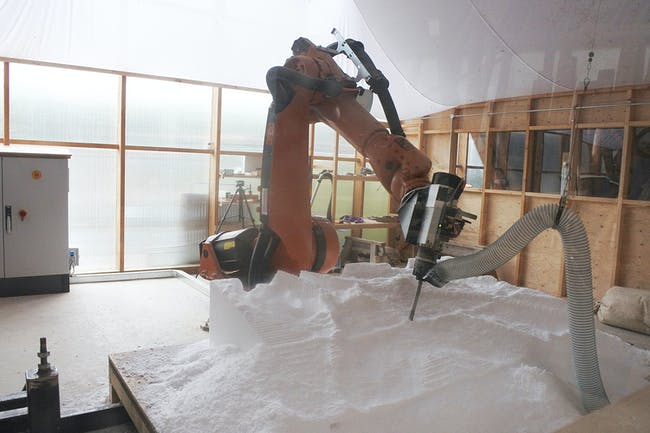Robotic cell setup. Photo: Elif Erdine.