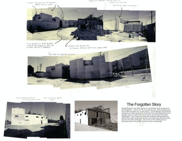 Photographic collages show the existing site in its recent state.