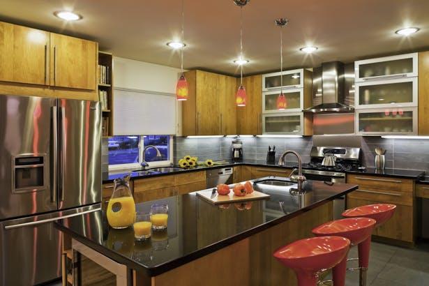 modern remodel of west la bungalow   budget driven design. vibrant kitchen design   indoor-outdoor living   modern bathroom.