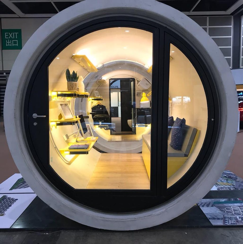 . This 100 sq  ft micro living unit made from concrete pipes is Hong