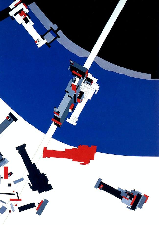 Malevich's Tektonik. Painting by Zaha Hadid. Image via http://www.arcspace.com/