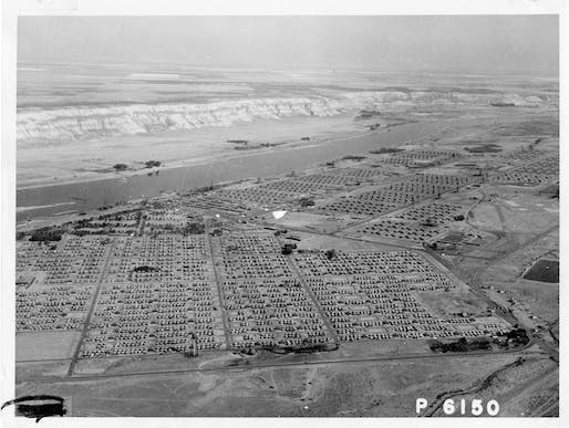 Aerial view of Hanford Construction Camp, CA. 1945. Image: Item courtesy of the U.S. Department of Energy, Hanford Collection.