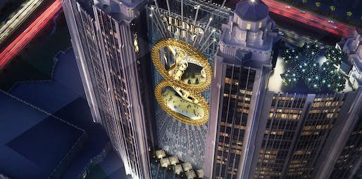 Macau's Studio City Resort will have a 'figure 8'-shaped ferris wheel between the hotel's two central towers. Image Credit: Studio City Macau, via gizmag.com