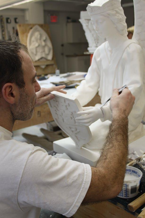 EverGreene plaster craftsmen sculpts heraldic angels