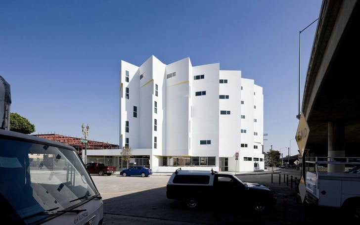 Carver Apartments. Located in downtown Los Angeles. Designed by Michael Maltzan Architecture. Photo by Iwan Baan.