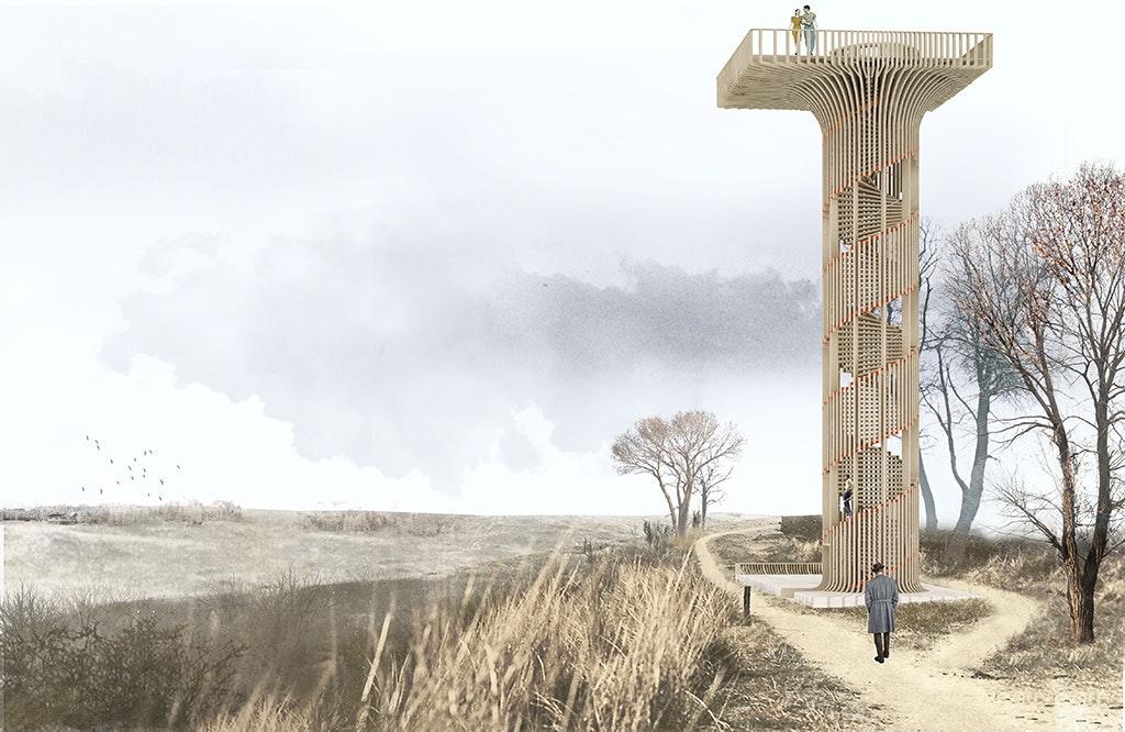 next architects u0026 39  wooden watchtower wins the belgian landmark competition