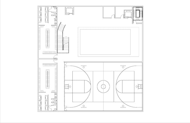 The Basement level simply consist of the largest locker room in the gym containing a number of lockers and showers. A pool is also present on the level and a small basketball court.