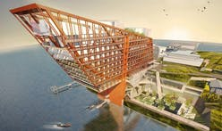 This proposed luxury hotel by Fender Katsalidis Architects incorporates a suspension bridge