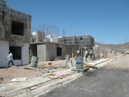 Homex low cost housing construction in Mexico. Photo: WTF Formwork.