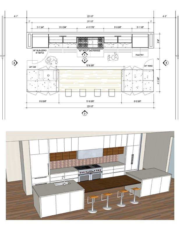 Kitchen plan CAD & elevation rendering
